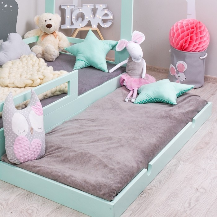lit cabane pour enfant avec barri re tiroir milo skandi. Black Bedroom Furniture Sets. Home Design Ideas
